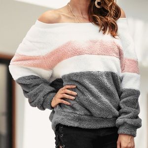 NWT Color Block Off Shoulder Sweatshirt